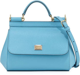 Dolce & Gabbana Sicily Micro Leather Crossbody Bag, Blue