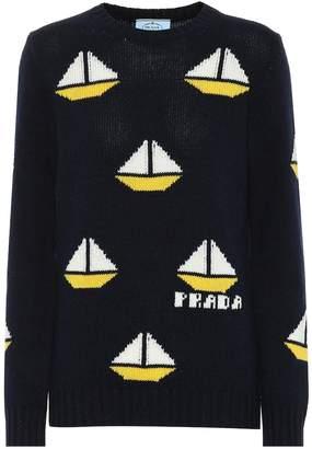 Prada Wool and cashmere intarsia sweater