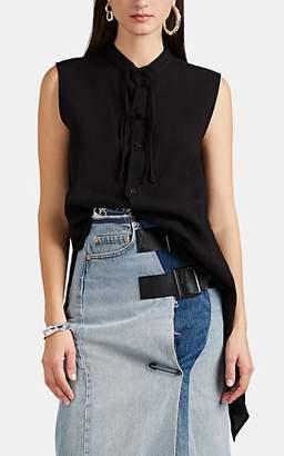 Yohji Yamamoto Regulation Women's Linen Asymmetric Blouse - Black