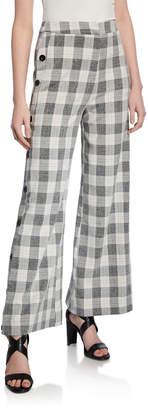 ENGLISH FACTORY Checkered Wide-Leg Pants