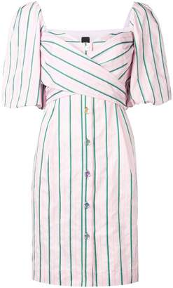 Pinko puff sleeve striped dress