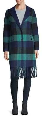 Sandro Checkered Fringe Hem Coat