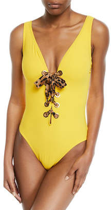 Karla Colletto Ava Leopard Print Lace-Up Underwire One-Piece Swimsuit