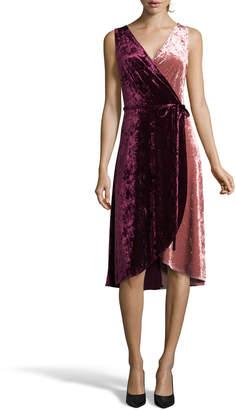 Label By 5twelve Crushed Velvet Sleeveless Wrap Dress
