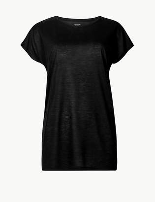 Marks and Spencer Round Neck Longline Relaxed Fit T-Shirt