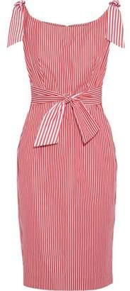 Milly Candice Tie-detailed Striped Cotton Dress