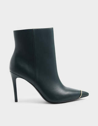 Charles & Keith Metallic Accent Pointed Toe Stiletto Heel Boots