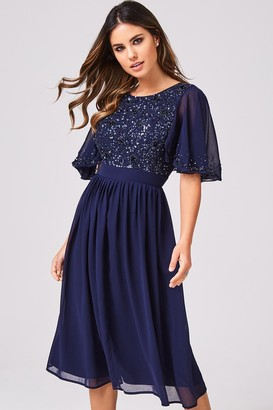 Little Mistress Luxury Sally Navy Hand-Embellished Sequin Flutter Sleeve Midi Dress