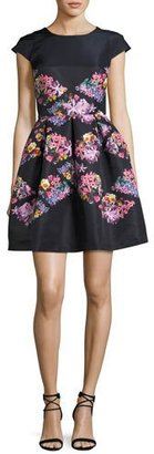 Ted Baker London Girly Lost Gardens Floral-Print Fit & Flare Dress, Black $335 thestylecure.com