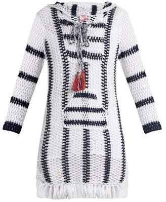 Anna Kosturova Cape Cod striped-crochet hooded dress