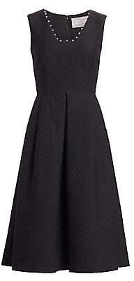 Lela Rose Women's Raised Dot Jacquard Fit-&-Flare Dress