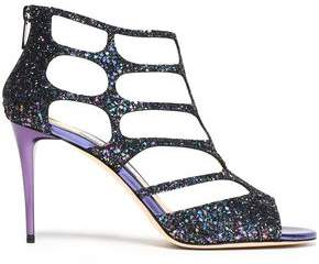 Jimmy Choo Cutout Glittered Leather Sandals