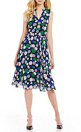 Anne KleinAnne Klein Printed Drawstring Sleeveless V-Neck Midi Dress