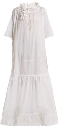 Albus Lumen - Lola Dropped Waist Ruffled Neck Cotton Dress - Womens - White