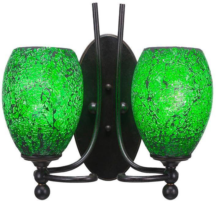 Cambridge SilversmithsCambridge 2-Light Dark Granite Sconce with Green Ribbed Glass