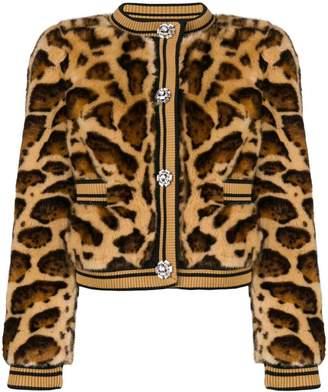 Dolce & Gabbana faux fur leopard print jacket