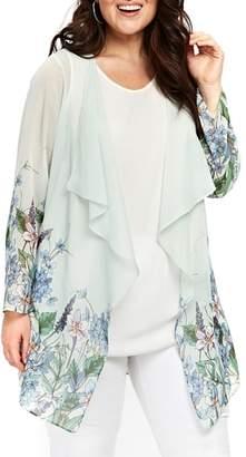 Evans Floral Draped Kimono