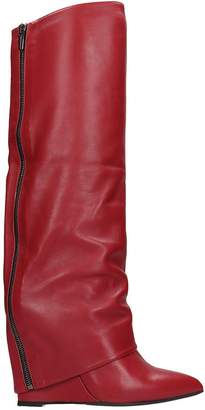 The Seller Boots In Red Leather