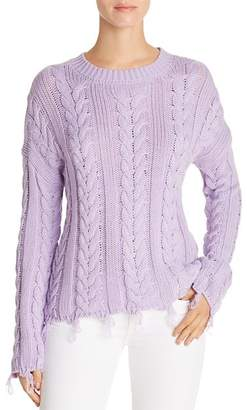 Aqua Distressed Cable-Knit Sweater - 100% Exclusive