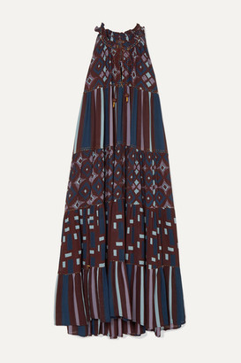 Yvonne S Hippy Tiered Printed Cotton Maxi Dress - Purple