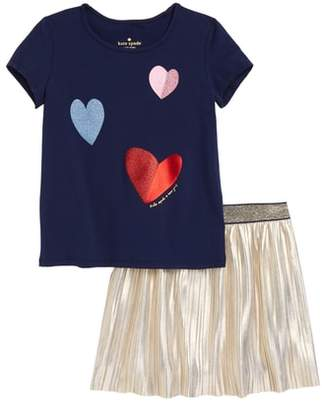 Kate Spade Tossed Hearts Tee & Skirt Set