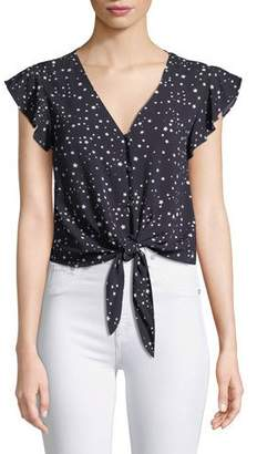 Cupcakes And Cashmere Bellfield Tie-Front Dot-Print Top