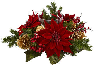 Nearly Natural Poinsettia, Berry and Golden Pine Cone Candelabrum Artificial Arrangement
