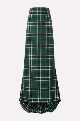 Rosie Assoulin Tie-back Checked Woven Maxi Skirt - Green
