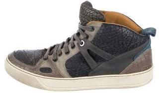 Lanvin Embossed High-Top Sneakers