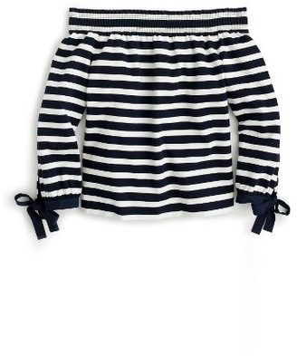 Women's J.crew Off The Shoulder Stripe Top $78 thestylecure.com
