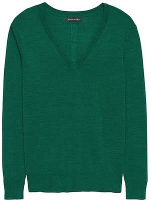 Banana Republic Machine-Washable Merino Wool Boyfriend V-Neck Sweater