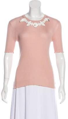 Fendi Flower-Accented Short Sleeve Top