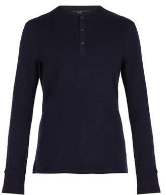 Rag & Bone Gregory Long Sleeved Wool Blend Henley Top - Mens - Blue
