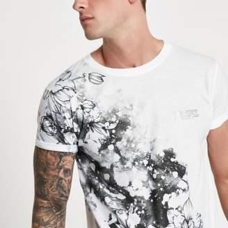River Island White floral splatter slim fit T-shirt