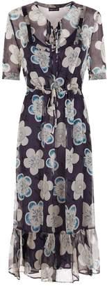 Emporio Armani Sheer Overlay Floral Dress