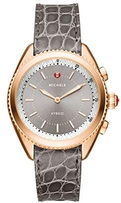 Michele Women's 'Hybrid' Quartz Stainless Steel and Leather Smart Watch