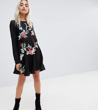 Asos Embroidered Mini Drop Waist Dress