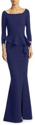 Chiara Boni Floor-Length Peplum Mermaid Gown