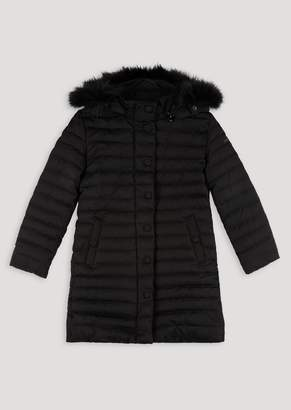Emporio Armani Long Quilted Down Jacket With Hood And Faux Fur Trim