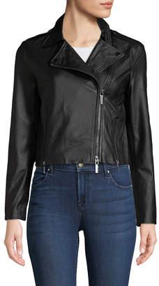 Armani Exchange Leather Crop Moto Jacket