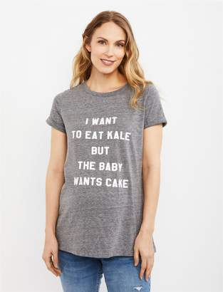 A Pea in the Pod I Want to Eat Kale but the Baby Wants Cake Maternity Graphic Tee