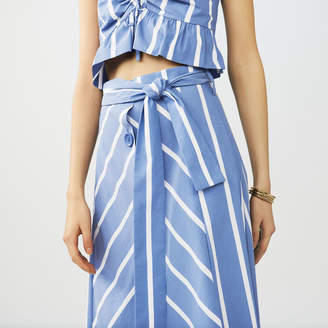 Maje Long striped skirt with buckles