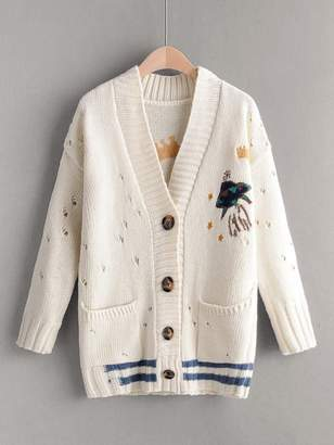 Shein Dual Pocket Striped Ripped Embroidery Cardigan