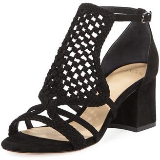 Alexandre Birman Carmella Crocheted Block-Heel Sandal