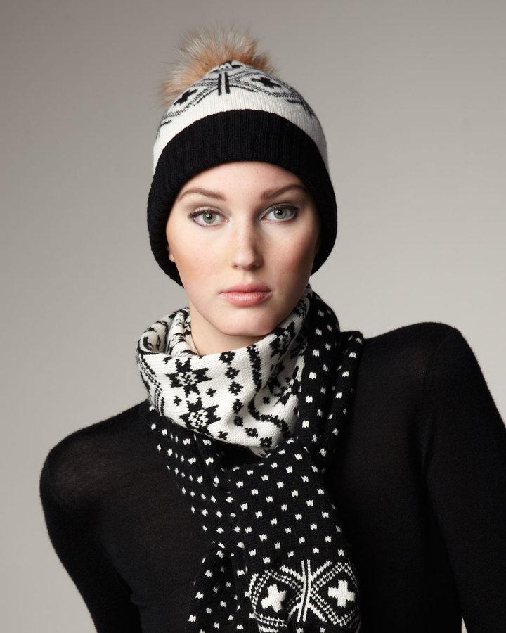Sofia Cashmere Fair Isle Cashmere & Fox Hat, Black