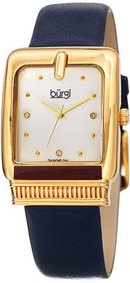 Burgi Womens Diamond Accent Crystal Accent Blue Leather Strap Watch-B-192bu