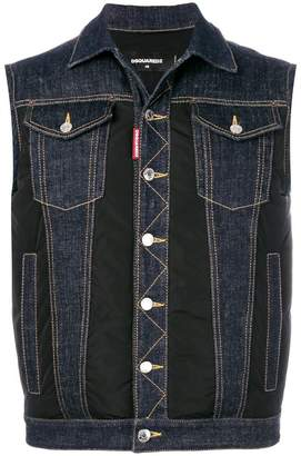 DSQUARED2 denim panel padded gilet
