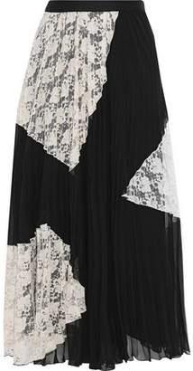 Derek Lam 10 Crosby Corded Lace-Paneled Plissé Gauze Midi Skirt