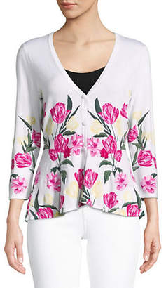 INC International Concepts Floral-Print Peplum Cardigan