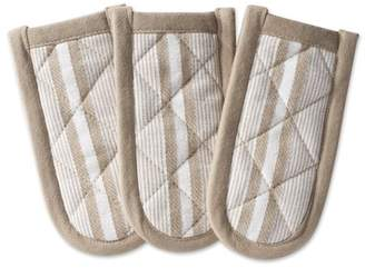 "Design Imports Stone Chef Stripe Kitchen Pan Handle Set, Set of 3, 6""x3"", 100% Cotton, Gray"